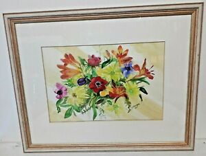 Aquarelle Bouquet De Fleurs Signé David.morgan 1990