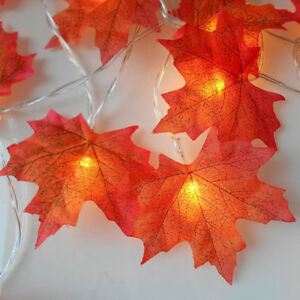 hot sale online 17058 5aa8f Details about LED Fall Maple Leaf String Lights Autumn Leaf Garland Fairy  Light Warm White New