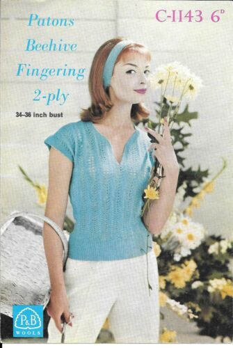 """Patons 1143 Vintage Knitting Pattern Ladies Top 34 //36/"""" 2 ply 1950s Retro Summer"""