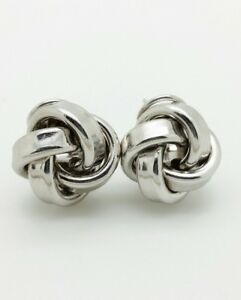 225e21fc10fd4 Details about 925 Sterling Silver Solid High Polish Love Knot Earrings 15mm