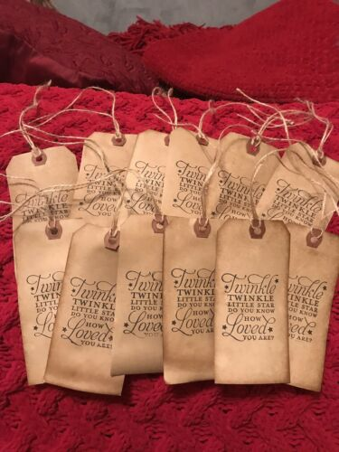 """Large Primitive """"Twinkle Twinkle """" Hang Tags Lot Of 12 Coffee Stained"""