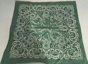 Vintage-green-with-white-paisley-print-bandana-scarf-handkerchief-cotton-USA