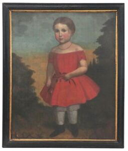 Antique American Folk Art Oil Portrait Painting Girl Red Dress 1840 Poindexter