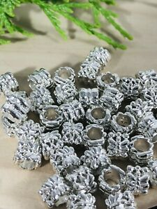 10 Large Hole Bright Silvertone Beads