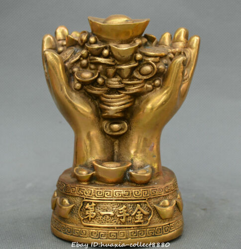 Chinese fengshui bronze carve first Hand gold yuanbao money coin wealth statue
