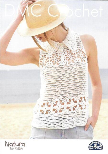 Dmc Crochet Pattern Ladies Top With Collar Ebay