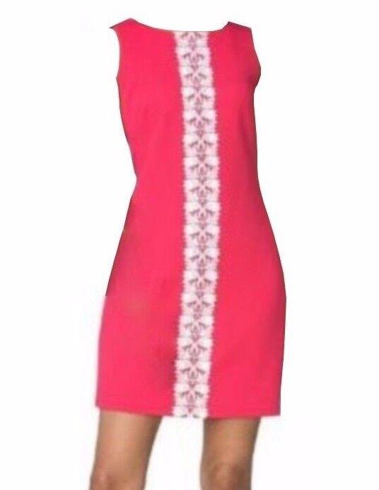 Chaps by Ralph Lauren Misses Lace Trim Pink pink Coral Jacquard Sheath Dress 8