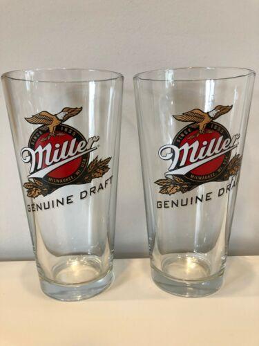 Miller Genuine Draft Beer Bar Pint 20oz Glass Set of 2 New