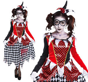 image is loading ladies harlequin girl fancy dress costume harley quinn - Halloween Costumes Harlequin