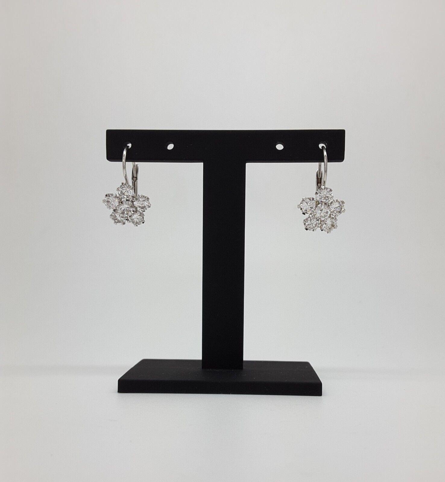 Miran 140905 18K White gold CZ Dangling Flower Earrings 2.8g RRP  239