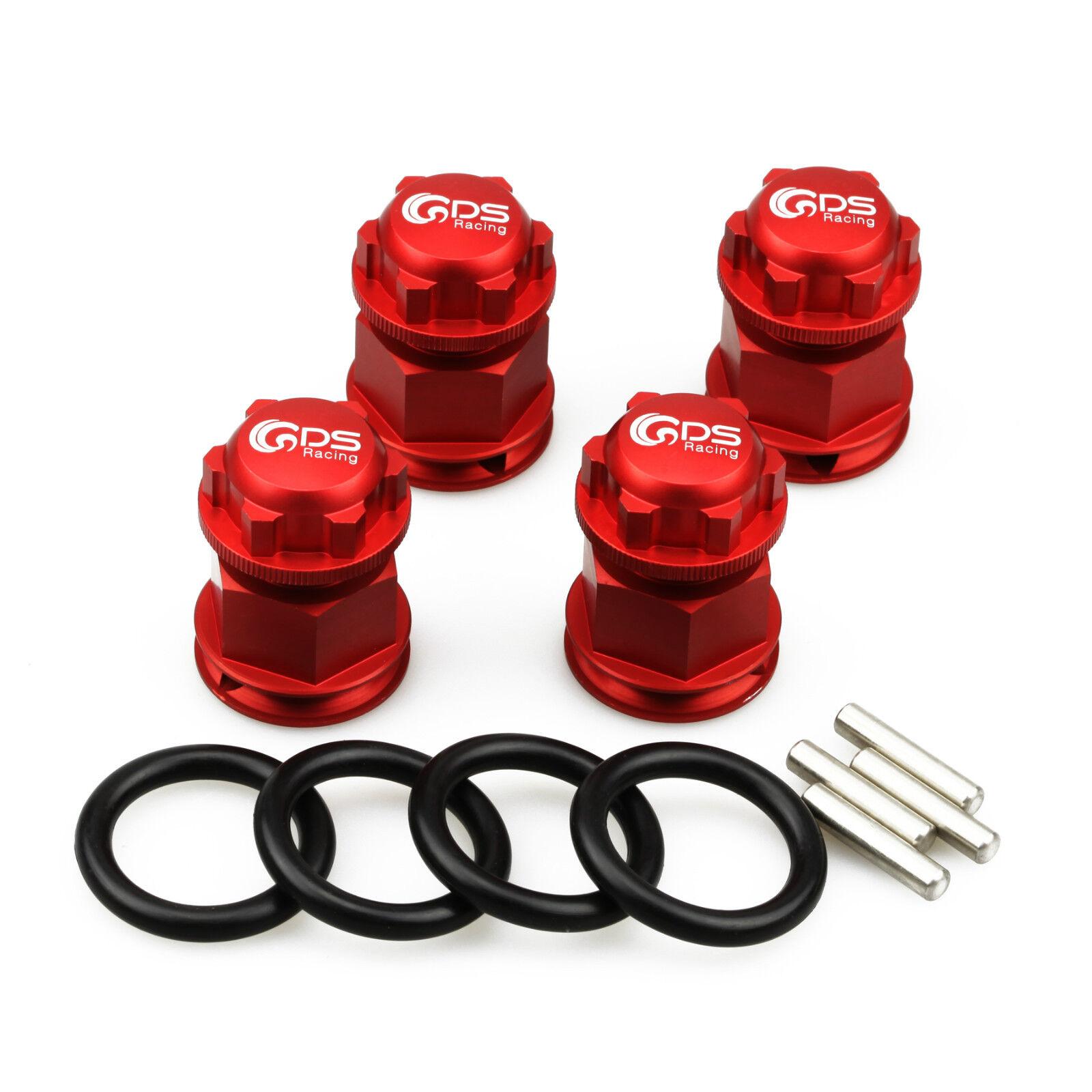 4pc GDS Racing Extendida Wheel Hex Hubs y tuerca de la rueda de Color rojo para Losi 5ive T