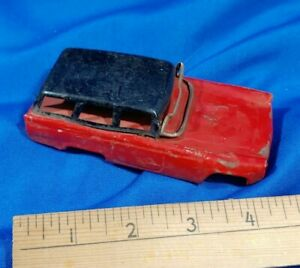 1950s-Station-Wagon-Tin-Toy-Car-Top-Body-Part-Red-Chevy-Bel-Air-Red-Black-VTG