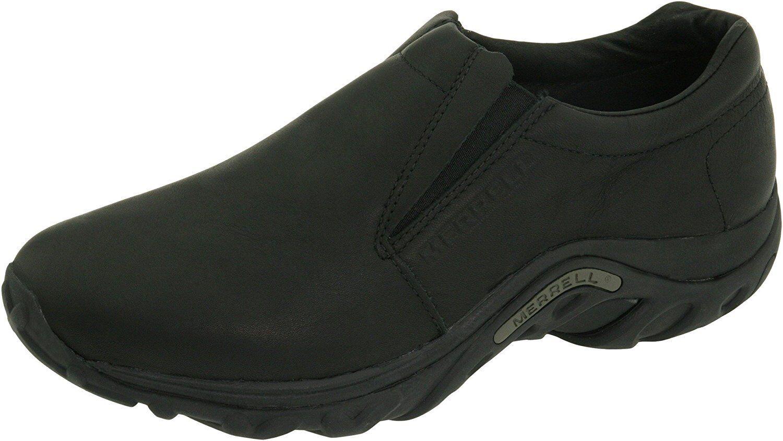 Nuevo Para hombres Merrell Jungle Moc Slip On Medianoche Negro Cuero Zapatos De Senderismo