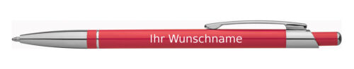Kugelschreiberfarbe rot slimline 10 Kugelschreiber mit Gravur aus Metall