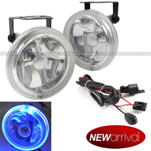 """For Sierra 3.2/"""" Round Super White w// Blue Halo Bumper Driving Fog Light Lamp Kit"""