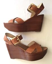 8ea35b58a5ff item 3 Michael Kors Peggy Luggage Leather Wedge Ankle Strap Sandals Size  9.5 -Michael Kors Peggy Luggage Leather Wedge Ankle Strap Sandals Size 9.5