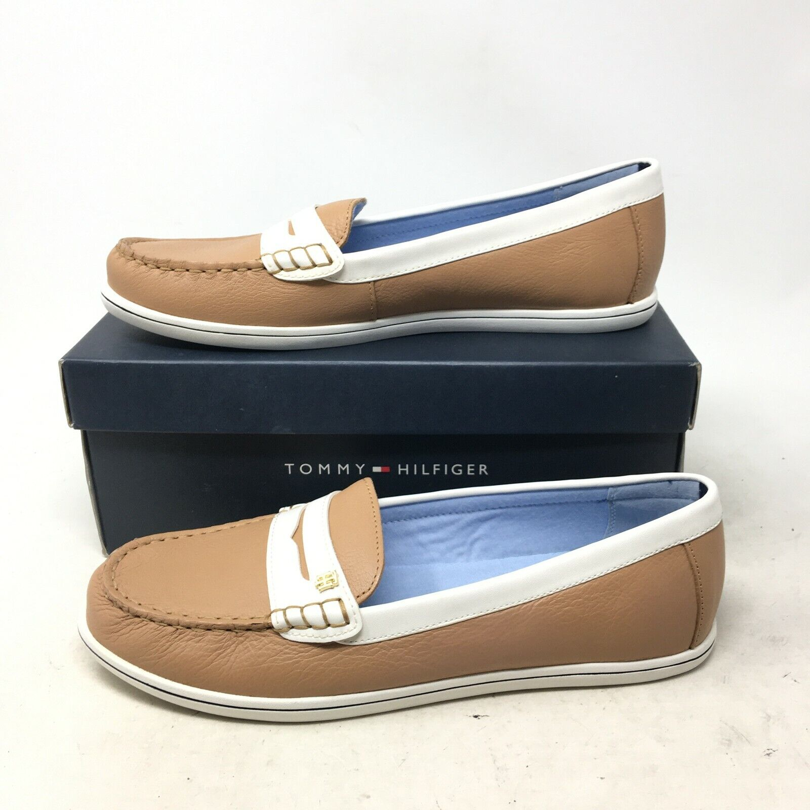 NEW Tommy Hilfiger Butter 4 Casual Loafers Slip On Shoes Leather Taupe Women 10M