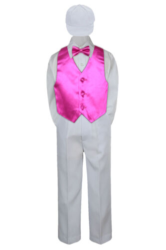 Boys Baby Toddler Kids Fuchsia Hot Pink Vest Bow Tie Formal Set Suit Hat S-7