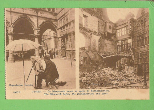 #N. WWI POSTCARD YPRES, BEFORE & AFTER BOMBARDMENT