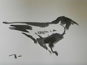 JOSE TRUJILLO - ABSTRACT EXPRESSIONISM INK WASH Crow Raven Minimal Bird ART 9x12