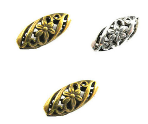 6//30Pcs Metal Alloy Retro Flower Charm Spacer Beads Jewelry DIY Making 23*10 mm