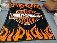Harley Davidson Queen Size Double Side Plush Reversible Blanket 85 X 69 Huge
