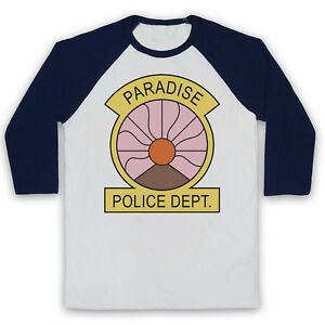 27a2ba71b Details about PARADISE PD UNOFFICIAL POLICE DEPARTMENT BADGE TV 3/4 SLEEVE BASEBALL  TEE