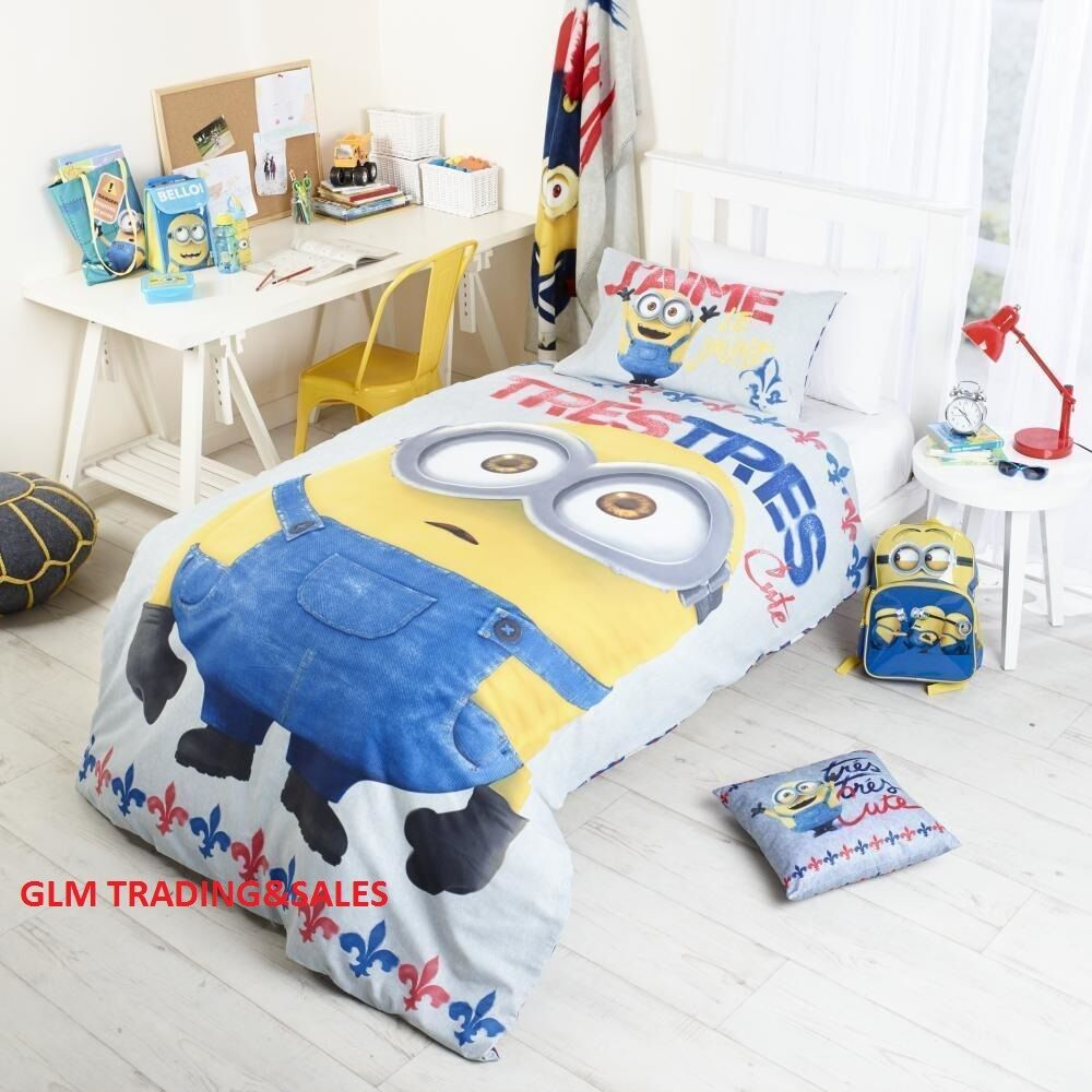 DOUBLE BED DESPICABLE ME MINIONS KIDS LICENSED QUILT DOONA COVER SET+2PILLOWCASE