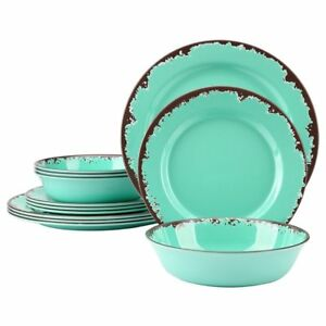 Rustic Melamine Dinnerware Sets.Details About Yinshine 12 Pcs Rustic Melamine Tableware Set Green Service For 4