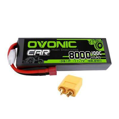2X Ovonic 50C 11.1V 2200mAh 3S Lipo Battery Dean for RC Helicopter Plane Jet
