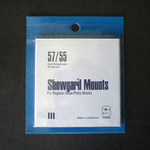 Showgard Stamp Mounts Size 57/55 BLACK Background Pack of 25