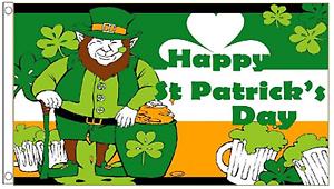 Prudent Happy St Patrick's Day Leprechaun & Pot Of Gold 5'x3' Flag éLéGant En Odeur