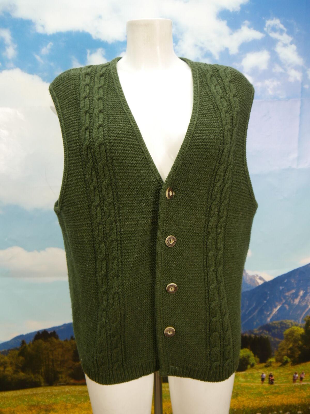 Gilet a maglia con lavorazione a trecce brevemente verde tradizionalmente Trachten Giubbotto Gilet Tg. 52