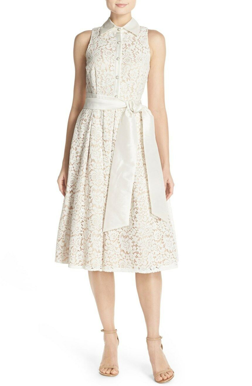 Eliza J Lace Fit & Flare Shirtdress (size 10)