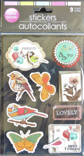 36pc 3-Dimension 3-D Stickers Nature Bird Butterfly Celebrate Enjoy Life /& Love