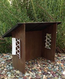 Miniature dollhouse fairy garden mini tin garden tool for Mini potting shed