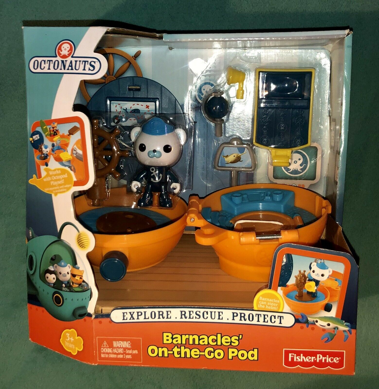 Fisher Fisher Fisher Price Octonauts Barnacles On The Go Pod giocattolo Set NIB RARE 2013 Mattel 798251