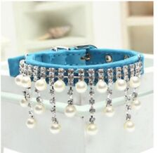 New Blue Pearl and Rhinestone Diva Dog Collar Bling for Dog Pig Cat Duck Medium