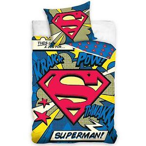 SUPERMAN-100-coton-Housse-de-couette-Set-de-LITERIE-NEUF-POW-Design