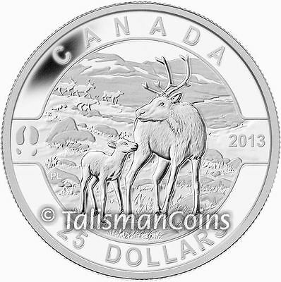 Canada Series #8 Mother Caribou with Baby Calf $25 Pure Silver Proof 2013 Oh
