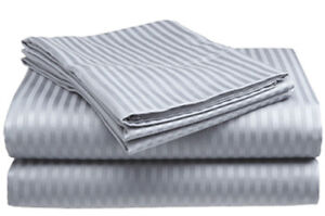 Queen-Size-Silver-Gray-400-Thread-Count-100-Cotton-Sateen-Dobby-Stripe-Sheet-Set