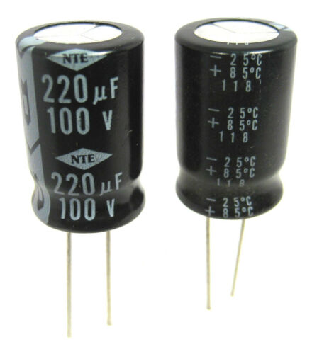 2//Lot 220uF 100V Radial Lead Electrolytic Capacitors