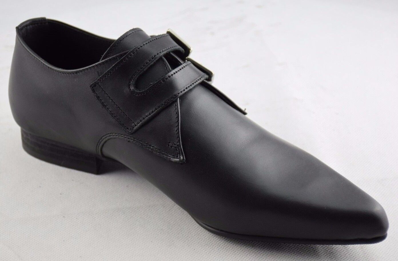 Steel Buckle Ground Zapatos Negro Leather Monk Buckle Steel Winklepicker Casual Zapatos Pointed 580bed