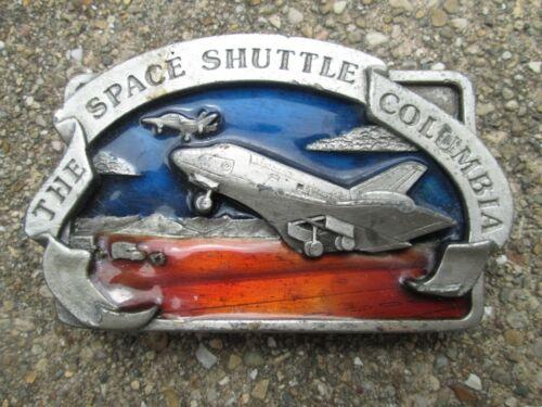 1982 Space Shuttle Columbia Bergamot Brass Works Belt Buckle Silver Red Blue