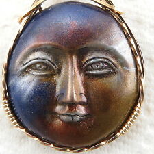 Metallic Blue Gold Moon Face Cabochon Pendant 14K Rolled Gold Jewelry Clay