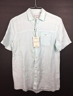 Murano Baird Mcnutt linen Men/'s Shirts Button Front Short Sleeve M L