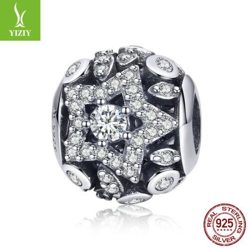 Nouveau Argent Sterling 925 étoile Brillante Zircone Charm Bead Fit Chain Bracelet Femmes