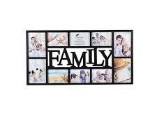 ~ Large Family Photo Frame 10 Multi Aperture Black Frame - 1004BK ~