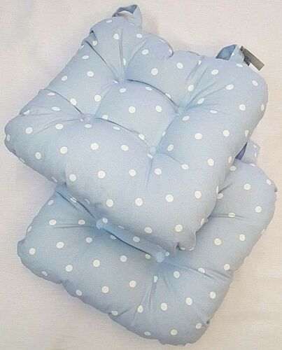 UK MADE PALE CHINA BLUE PADDED SPOTTY CHUNKY  DOTTY CHAIR SEAT PAD £8.99 EACH