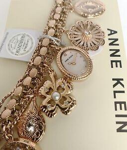 Anne Klein Watch * 8096RMCH Gypsy Rose Gold Swarovski Charm BraceletCOD PayPal